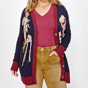 Floral knitted cardigan